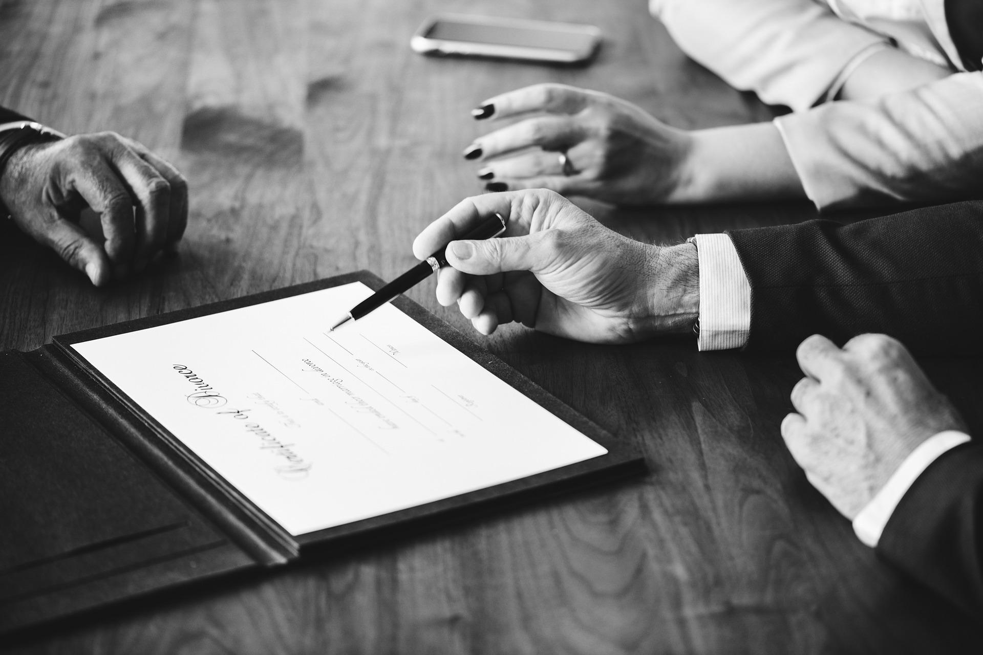 lawyer explaining divorce document